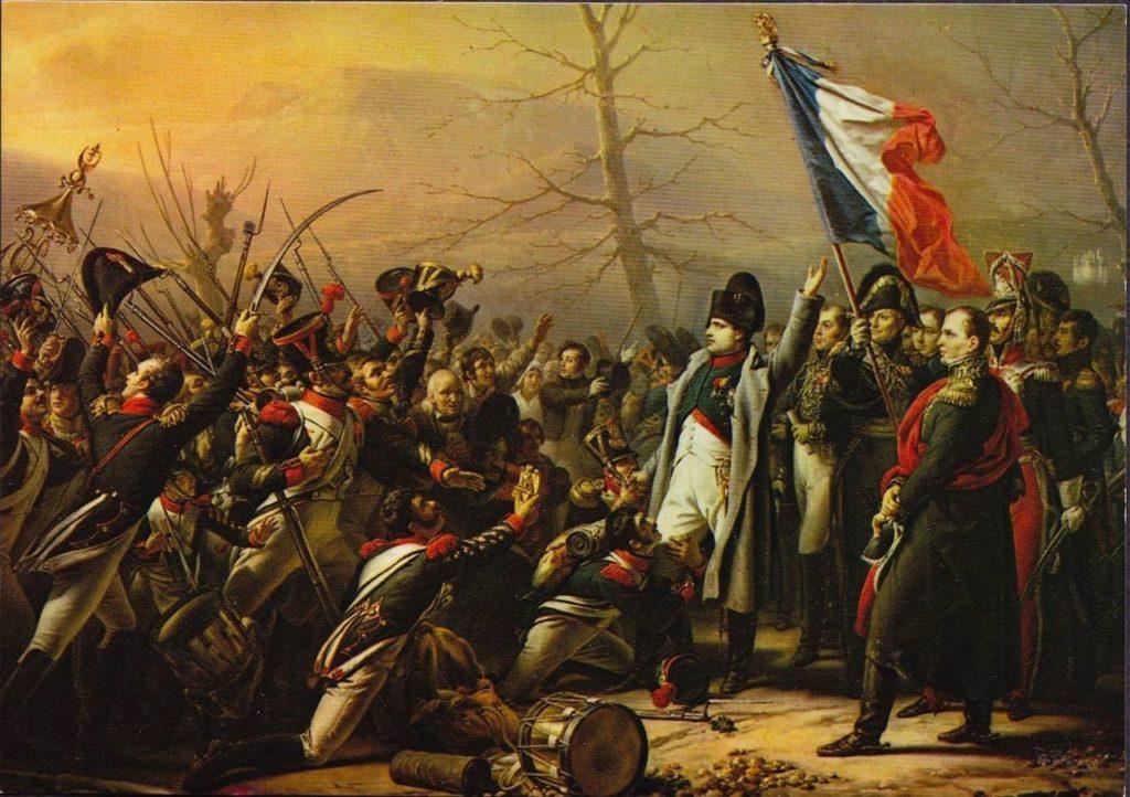 Soldaterna faller ned på knä och bugar efter Napoleons återkomst från Elba