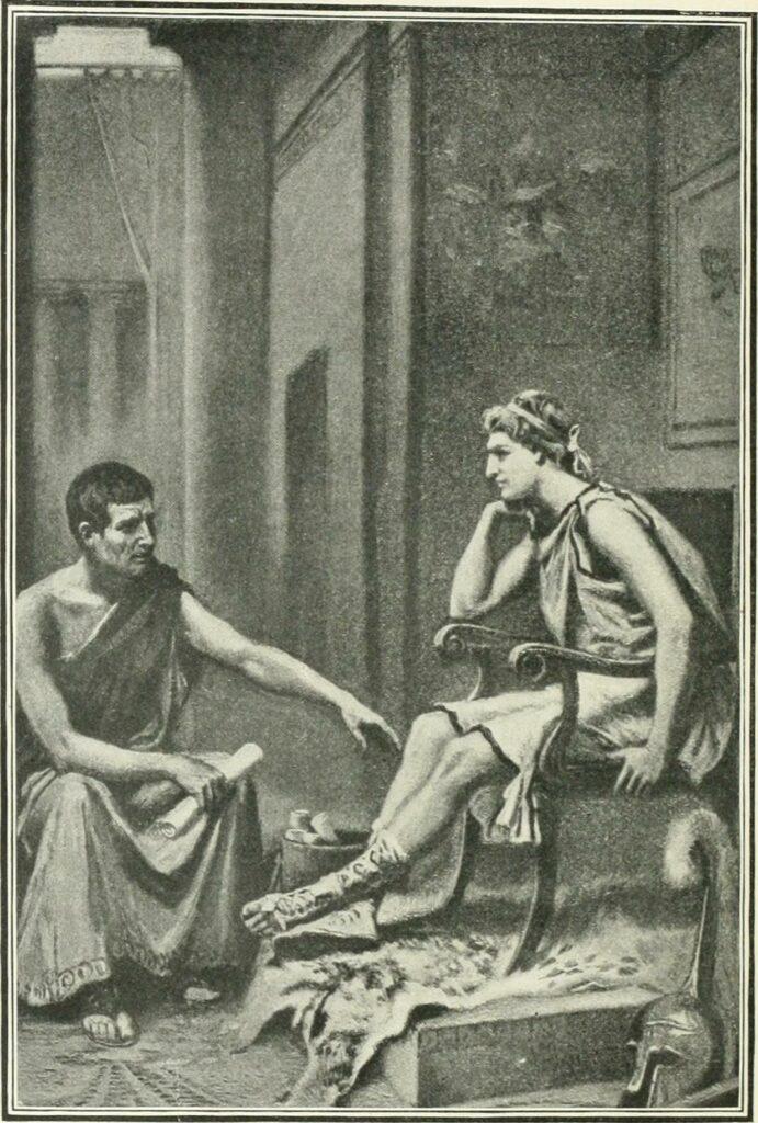 Alexander lyssnar på sin mentor aristoteles. Det var bland annat lärdomar från honom som gjorde alexander den store till en av de största ledarna någonsin.